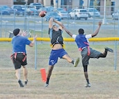 Soldiers from 601st Aviation Support Battalion, 1st Combat Aviation Brigade, 1st Infantry Division, and Irwin Army Community Hospital faced each other in an intramural flag football game Oct. 15 at Long Fitness Center.