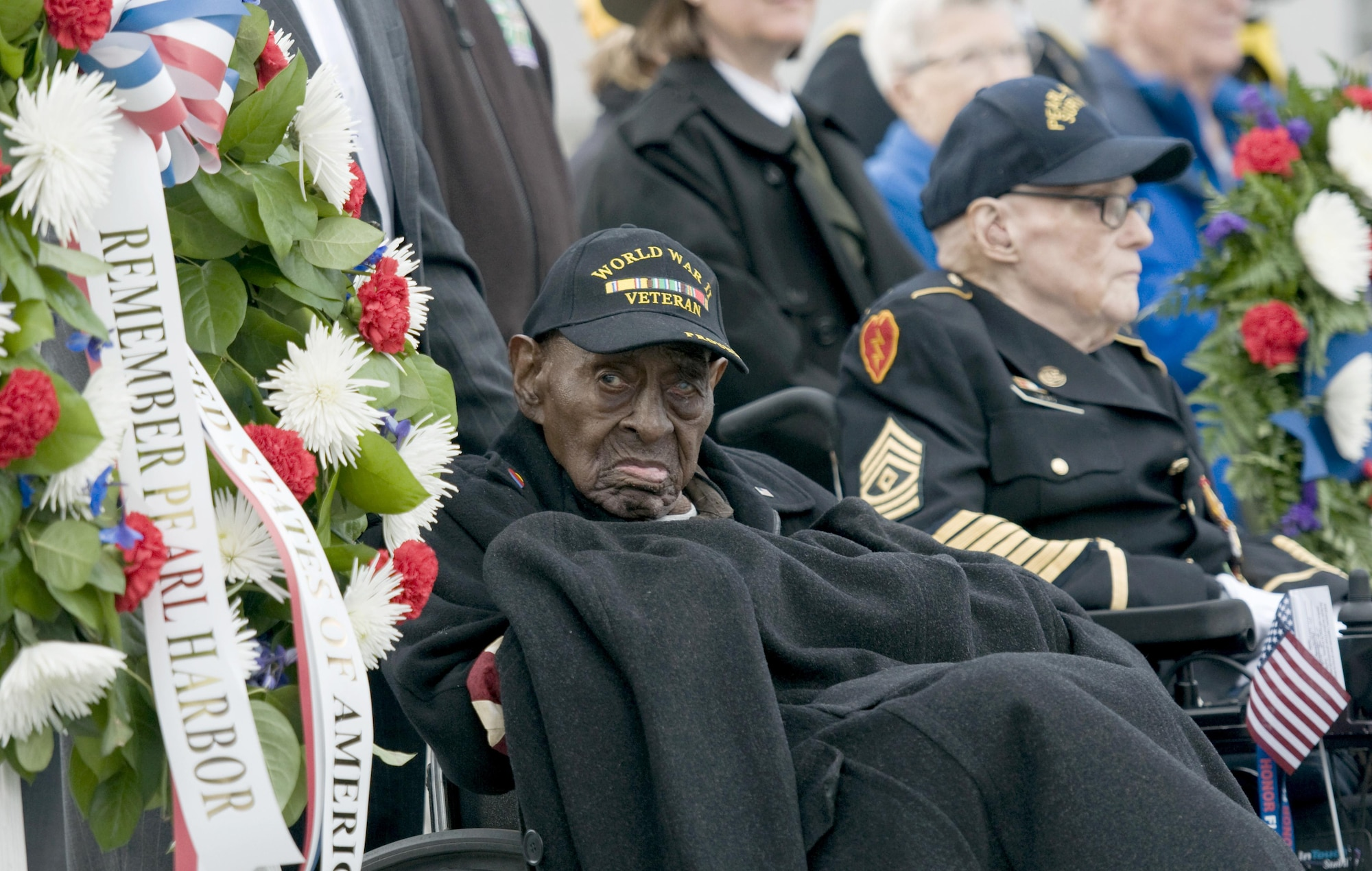 Frank Levingston, a 110-year-old Army veteran believed to be the nation's oldest living World War II veteran, attends a Pearl Harbor remembrance ceremony at the National WWII Memorial on Dec. 7, 2015, in Washington, D.C. (U.S. Air Force photo/Sean Kimmons)