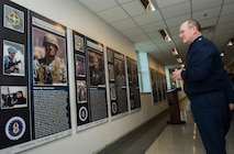Chief of the Air Force Reserve Lt. Gen. James Jackson looks over the panels after unveiling the Profiles in Leadership display in the Pentagon, Washington D.C., Dec. 7, 2015. The display highlights outstanding examples of leadership in the Air Reserve forces, and celebrates and honors Citizen Airmen's contributions in serving the nation. (U.S. Air Force Photo/Jim Varhegyi)
