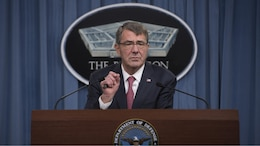 Secretary of Defense Ash Carter announces his women in service review during a press brief at the Pentagon in Arlington, Va., Dec. 3, 2015. For the first time in U.S. military history, as long as they qualify and meet specific standards, the secretary said women will be able to contribute to the Defense Department mission with no barriers at all in their way.