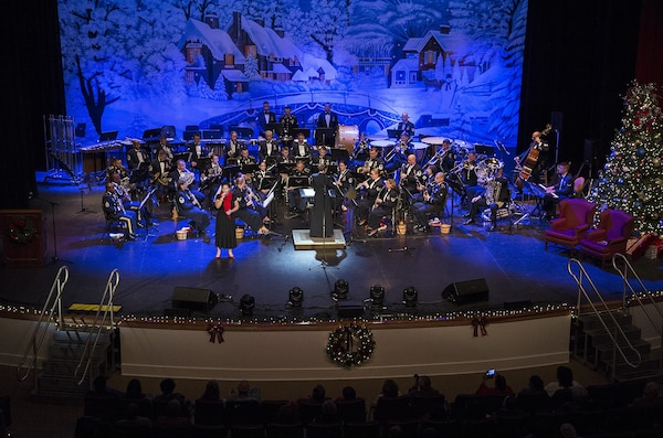 United States Air Force Band of the West performs during the Holiday in Blue concert Dec. 7, 2015 at the Edgewood Independent School District Theatre for the Performing Arts in San Antonio, Texas. The concert included a variety of holiday songs from around the world, a children's story and a sing-a-long. Attendees included members of JBSA, community members and retirees. The Airmen assigned to the band are highly-trained professional musicians who have dedicated themselves to serving their country through music. (U.S. Air Force photo by Johnny Saldivar)