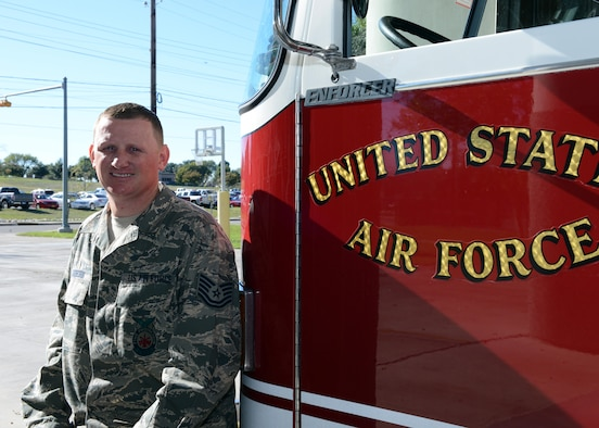 "Tech. Sgt. Patrick Ogborn, 47th Civil Engineer Squadron Fire Department assistant chief of ""A"" shift, poses for a photo at Laughlin Air Force Base, Texas, Dec. 3, 2015. Ogborn was awarded the Maj. Gen. Eugene A. Lupia Award, which is given for superior technical competence and job performance. (U.S. Air Force photo by Senior Airman Jimmie D. Pike)"