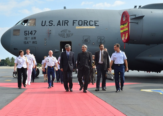 Manohar Parrikar, the India Defense Minister (right), and Arun K. Singh, the Indian Ambassador to the U.S., received an in-depth aeromedical evacuation demonstration of the C-17 Globemaster III  from PACAF Airmen on Joint Base Pearl Harbor-Hickam, Hawaii, Dec. 7, 2015. The Indian air force has the world's 2nd largest fleet of C-17s, behind the U.S., and these aircraft have already proven their value in supporting international response to regional crises. (U.S. Air Force photo by Tech. Sgt. Aaron Oelrich/Released)