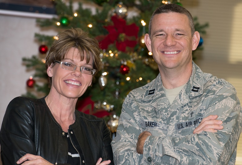 Will Rogers Airmen in need of emotional or financial support this holiday season can find access to assistance through the Airman Readiness and Chaplain's Office or their squadron first sergeant. Shown here, from left to right, are Tracy Poindexter, 137th Air Refueling Wing yellow ribbon coordinator and Wing Chaplain Capt. Joseph D. Baker. (U.S. Air National Guard photo by Master Sgt. Andrew M. LaMoreaux/Released)