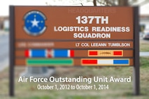The 137th Logistics Readiness Squadron received the Air Force Outstanding Unit Award for their accomplishments spanning Oct. 1, 2012 through Sep. 30, 2014. (U.S. Air National Guard graphic by Master Sgt. Andrew M. LaMoreaux/Released)