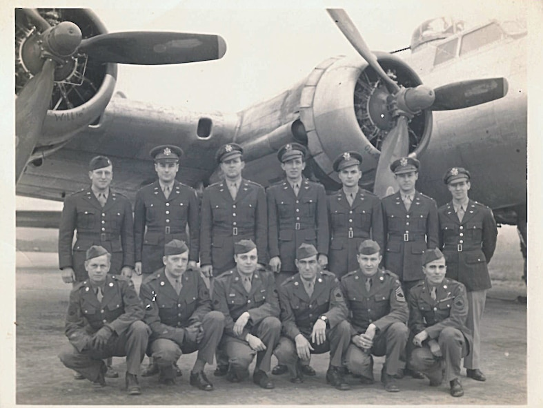 The crew of a B-17 Flying Fortress, to include 1st Lt. Cuno Vernal Becker, standing, far right. Becker is the great-uncle of current U.S. Air Force Chief Master Sgt. James McCloskey. (Courtesy photo, U.S. Air Force Chief Master Sgt. James McClosey/released)