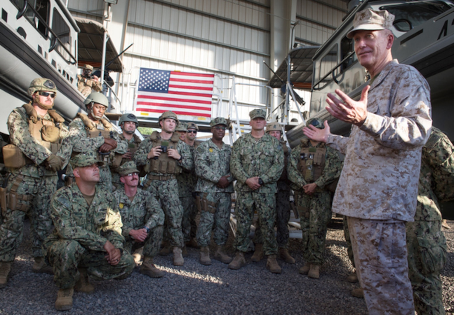 U.S. Marine Gen. Joseph F. Dunford Jr., chairman of the Joint Chiefs of Staff, talks with U.S. Sailors during a visit to Camp Lemonnier, Djibouti, Dec. 6. (DoD photo by D. Myles Cullen/Released)