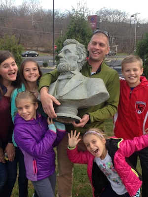 Andrew Johnson finds bust of U.S. President Abraham Lincoln