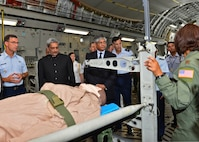 Pacific Air Forces Airmen demonstrate the aeromedical evacuation capabilities of the C-17 Globemaster III to Indian Defense Minister Manohar Parrikar, left, and Arun K. Singh, the Indian ambassador to the U.S., on Joint Base Pearl Harbor-Hickam, Hawaii, Dec. 7, 2015. The Indian air force has the world's second largest fleet of C-17s, behind the U.S., and these aircraft have already proven their value in supporting international response to regional crises. (U.S. Air Force photo/Tech. Sgt. Aaron Oelrich)