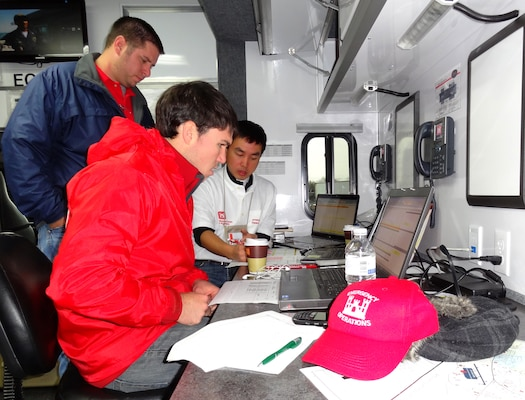 Matthew Rorick (back), Jason Lavecchia (front) and Jimmy Luo of the U.S. Army Corps of Engineers Savannah District work to provide emergency power to areas surrounding Annville, Penn., in response to Superstorm Sandy. As part of the joint federal response led by FEMA, the Corps of Engineers currently has 69 FEMA mission assignments exceeding a total of $254 million.