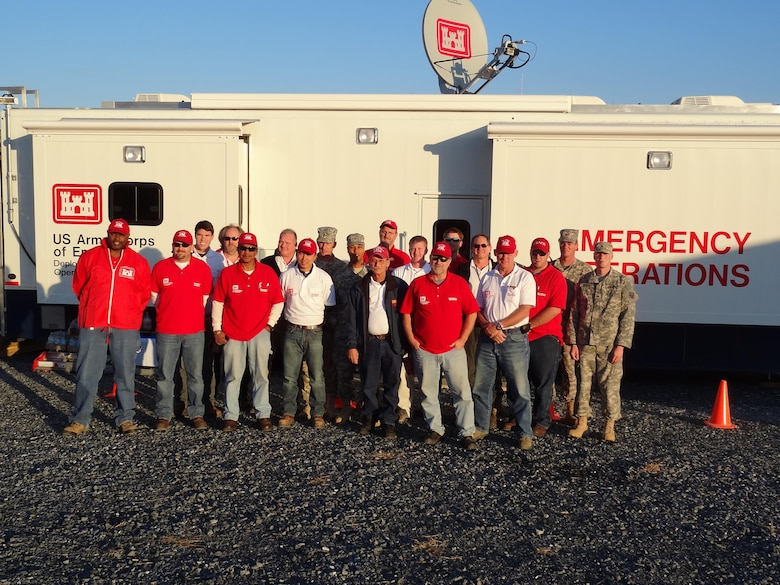 Members of Savannah's emergency power team gather in front of the emergency operations center based in Annville, Penn. in late October 2012. The team mobilized as part of an interagency response to support the New York Engineer District in the wake of Superstorm Sandy.