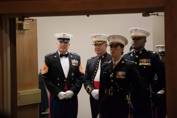 Marine Corps Sgt. Maj. Bryan B. Battaglia, senior enlisted advisor to the Chairman of the Joint Chiefs of Staff, waits to enter with the official party at the Marine Corps birthday ball hosted by Marine Corps Detachment Fort Leonard Wood, in Osage Township, Mo., Nov. 7, 2015. Battaglia delivered keynote remarks during the event. DoD Photo by Army Staff Sgt. Sean K. Harp