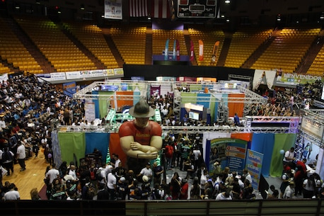 Marines attended the Expo Graduandos Porta Del Sol to educate students about the opportunities the Marine Corps has Sept. 15 - 17, 2015 in Mayaguez, Puerto Rico. The three day event brings high school seniors from the western region of Puerto Rico to explore the many options that are available to them after graduating high school regarding college, careers, and the armed forces. (U.S. Marine Corps photo by Sgt. Michael Lopez/Released)