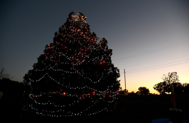 The Laughlin Christmas Tree stands lit on Laughlin Air Force Base, Texas, Dec. 2, 2015. The chapel's annual Christmas Tree lighting invites Laughlin families to come out and celebrate the beginning of the holiday season. (U.S. Air Force photo by Airman 1st Class Ariel D. Partlow)