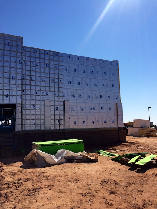 CANNON AIR FORCE BASE, N.M. – The installation of polyisocyanurate insulation on a building on base, Sept. 28, 2015. Photo by James Vigil.