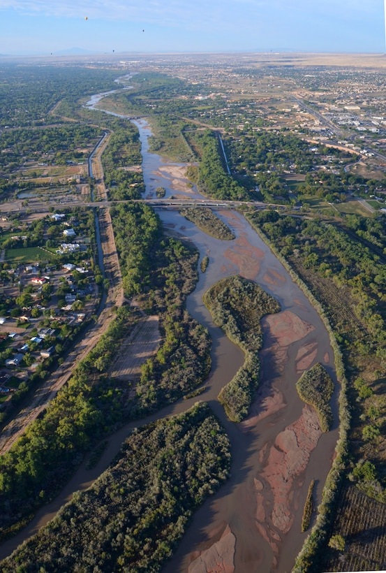 ALBUQUERQUE, N.M. – The Middle Rio Grande project as seen from a hot air balloon, Oct. 2, 2015, during Albuquerque Aloft, a preliminary event of the Balloon Fiesta. The photographer is looking south along the Rio Grande from north of the Alameda Bridge.  