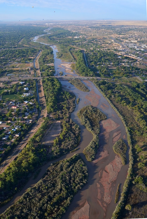 ALBUQUERQUE, N.M. – The Middle Rio Grande project as seen from a hot air balloon, Oct. 2, 2015. The photographer is looking south along the Rio Grande from north of the Alameda Bridge. Photo by Joan Coffing.