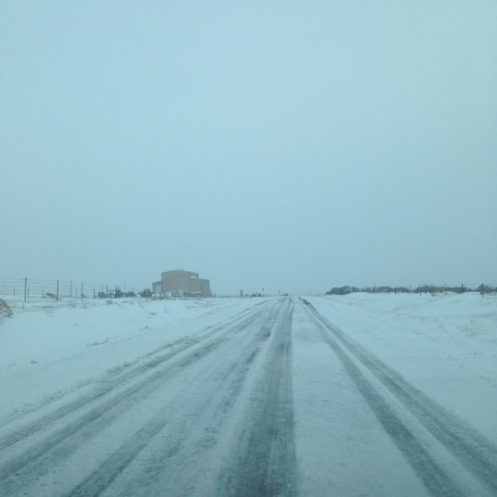 SANTA ROSA, N.M. – Winter weather covers the road to Santa Rosa Dam, Jan. 22, 2015. Photo by Rowena Sanchez.