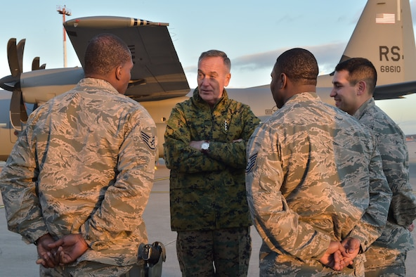 U.S. Marine Corps Gen. Joseph F. Dunford Jr., chairman of the Joint Chiefs of Staff, visits Airmen from the 435th Air Ground Operations Wing during the 2015 USO Holiday Troop Tour, Dec. 9, 2015, at Ramstein Air Base, Germany. Ramstein was the final stop on the tour, after places such as Bahrain, and Djibouti. (U.S. Air Force photo/Staff Sgt. Leslie Keopka)