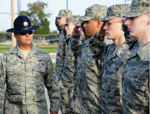 Master Sgt. Carlos Recoder, who has been training Airmen since 2006, is a MTI serving on an active guard reserve tour. An AGR is a reservist in a federal military program that places reserve Airmen on active duty service. (Photo by Minnie Jones, circa 2011)