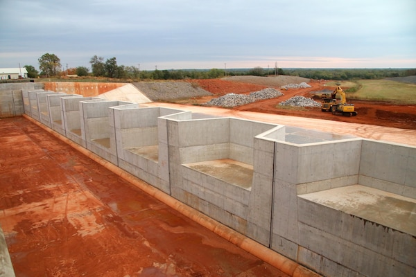 The Tulsa District U.S. Army Corps of Engineers installed nine fuse gates during the course of the Canton Dam Safety Assurance Project, Oct. 22, 2015 at Canton Lake, Canton Oklahoma.  The multiphase project is the second largest civil works project ever undertaken by the district and is projected to be completed in summer 2016. (Photo by Preston Chasteen/Released)