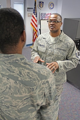 Master Sgt. Charles Gillespie, a member of the 446th Airlift Wing's recruiting team, is the lone Reserve recruiter at Fairchild Air Force Base, Wash. Gillespie is an in-service recruiter, offering Reserve opportunties to Airmen leaving the active-duty Air Force.