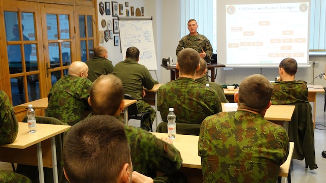 Marines introduced the concept of Company Level Intelligence Cells to Land Forces brigade officers and noncommissioned officers of the Baltic allies in Lithuania from Nov. 24- Dec. 3, 2015. The training was conducted as part of U.S. Marine Corps Forces Europe and Africa's focused implementation plan for military intelligence engagements. In both Baltic nations, small military intelligence corps can benefit from increasing their tactical information-gathering capabilities using concepts like CLIC.