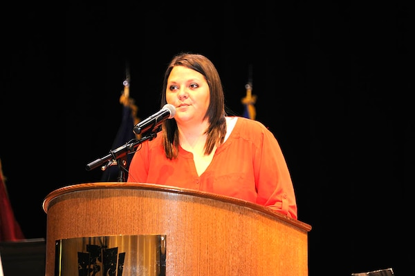 Keynote speaker Tiffany Eckert talks about how she met her husband who died in Iraq serving in the Army Reserve.