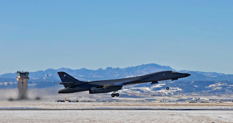 A B-1B Lancer launches from Ellsworth Air Force Base, S.D., Dec. 2, 2015. The B-1B is one of many aircraft participating in the first large force exercise in the newly expanded Powder River Training Complex. (U.S. Air Force photo/Airman 1st Class James L. Miller)