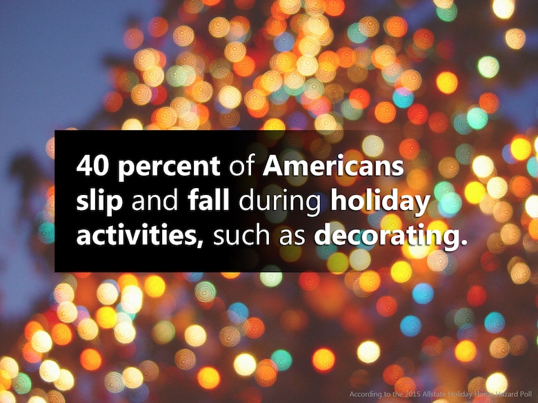 DID YOU KNOW: Nearly 40 percent of Americans slip and fall during holiday activities, such as decorating. (U.S. Air National Guard graphic by Senior Airman Kasey M. Phipps/Released)