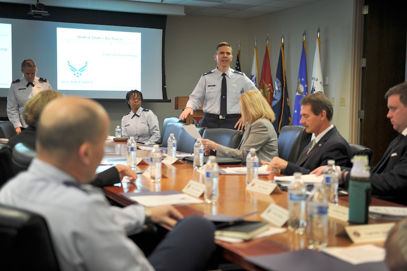 Lt. Col. Ralph E. Taylor, 628th Mission Support Group deputy commander, provides opening remarks during the Air Force Partnership Program (P4) way ahead meeting in the 628th Air Base Wing conference room on Joint Base Charleston - Air Base, S.C., Dec. 4, 2015. The P4 initiative, started approximately 12 months ago, has led to the creation of nine new money-saving programs between local community leaders  and multiple Joint Base members. (U.S. Air Force photo/Tech. Sgt. Renae Pittman)