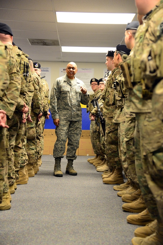 Maj. Gen. Anthony Cotton, 20th Air Force commander, visits Airmen from the 341st Missile Security Forces Squadron Dec. 7, 2015, at Malmstrom Air Force Base, Mont. Cotton introduced himself to the Airmen during guardmount and took the opportunity to discuss his views on the nation's defense. Cotton is a former 341st Missile Wing commander, and now leads the nation's land based intercontinental ballistic missile force. (U.S. Air Force photo/Airman 1st Class Magen M. Reeves)