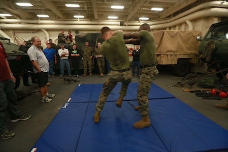 PACIFIC OCEAN (Dec. 8, 2015) U.S. Marines with Battalion Landing Team 3rd Battalion, 1st Marine Regiment, 15th Marine Expeditionary Unit demonstrate a small portion of the Marine Corps Martial Arts Program to family members in the well deck aboard the USS Anchorage (LPD 23). The 15th MEU is coming to the end of deployment and hosting a Tiger Cruise for family members to showcase life aboard the Anchorage. (U.S. Marine Corps photo by Sgt. Steve H. Lopez/Released)