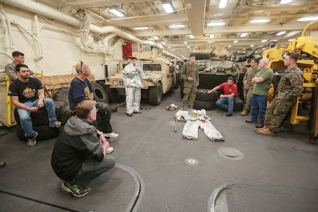 PACIFIC OCEAN (Dec. 9, 2015) U.S. Marine Cpl. Francisco Vargas speaks to the families about the fire suppression system (FSS) aboard the USS Anchorage (LPD 23). Vargas is a bulk fuel specialist with Combat Logistic Battalion 15, 15th Marine Expeditionary Unit. The 15th MEU is coming to the end of deployment and hosting a Tiger Cruise for family members to showcase life aboard the Anchorage. (U.S. Marine Corps photo by Sgt. Steve H. Lopez/Released)