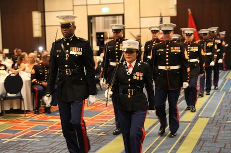 Marines with Recruiting Station Atlanta march in during the opening precession during of the Marine Corps Birthday Ball Nov. 14, 2015, at the Atlanta Gateway Marriott Hotel in Atlanta, Ga. It is a proud tradition Marines hold to celebrate the Marine Corps birthday every year since Nov. 10, 1775 when the Marine Corps when the Corps was established at the Tun Tavern in Philadelphia, Penn.(Official Marine Corps photo by Sgt. Mel Johnson/Released)