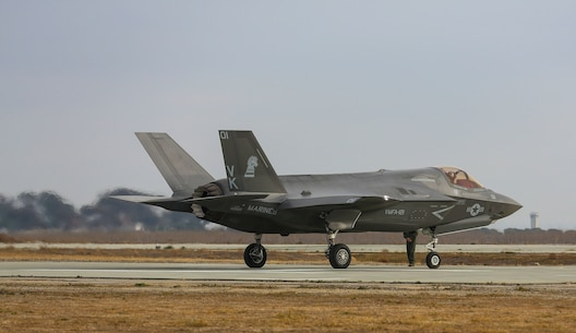 An F-35B Lightning II with Marine Fighter Attack Squadron (VMFA) 121 taxis down the runway at Red Beach on Marine Corps Base Camp Pendleton, Calif., Dec. 10. This is the first time that the F-35 conducted close air support missions in support of exercise Steel Knight. (U.S. Marine Corps photo by Cpl. Alissa P. Schuning/Released)