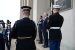 U.S. Defense Secretary Ash Carter renders honors during the enhanced honor cordon welcoming British Defense Secretary Michael Fallon to the Pentagon, Dec. 11, 2015. DoD photo by U.S. Army Sgt. First Class Clydell Kinchen
