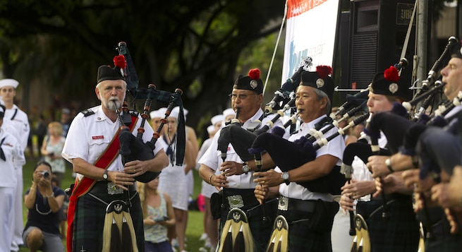 Pipe major Dan Quinn leads members of the Celtic Pipes & Drums of Hawaii during the opening ceremony of the Pearl Harbor Memorial Parade at Fort DeRussy Park in Honolulu, Dec. 7, 2015. U.S. Marine Corps photo by Lance Cpl. Miguel Rosales