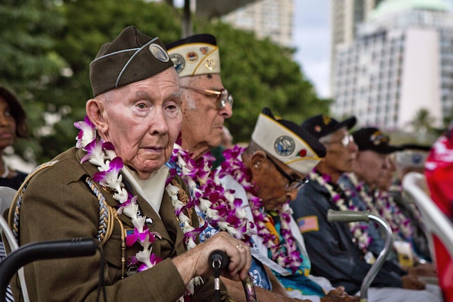 World War II veteran Joe Reilly, a survivor of the attacks on Pearl Harbor, attends the opening ceremony of the Pearl Harbor Memorial Parade at Fort DeRussy Park in Honolulu, Dec. 7, 2015. U.S. Marine Corps photo by Lance Cpl. Miguel Rosales
