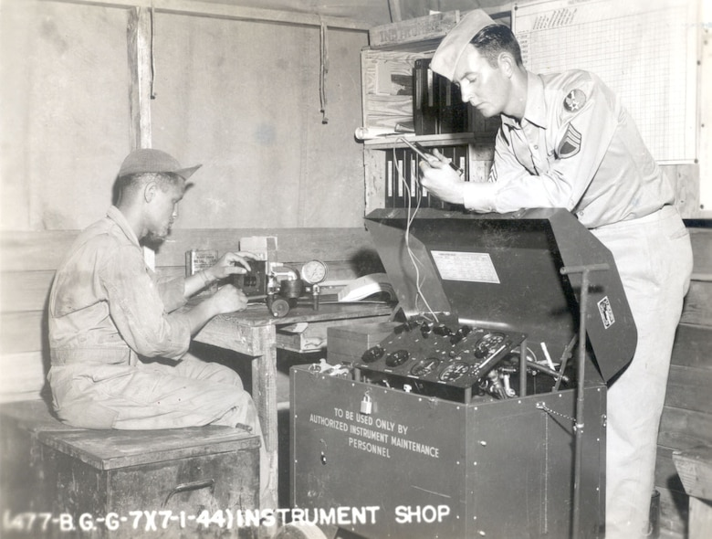 A member of the 447th Bombardment Group (Medium) receives on-the-job training of aircraft instrumentation at Godman Field, Fort Knox, Kent., in July 1944. The 447th BG was assigned to First Air Force from April 10, 1944 to March 21, 1946.
