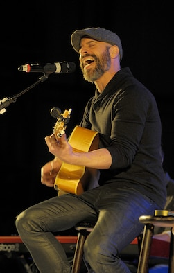 Musician Chris Daughtry performs during the 2015 USO Holiday Troop Tour Dec. 9, 2015, at Ramstein Air Base, Germany. Daughtry and other celebrities joined U.S. Marine Corps Gen. Joseph F. Dunford, chairman of the Joint Chiefs of Staff, for the 15th annual tour to thank service members and their families for their service and sacrifices. (U.S. Air Force photo/Staff Sgt. Timothy Moore)