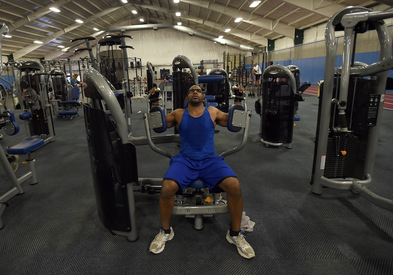 U.S. Army Cpl. Sean Gladden, Joint Base Andrews West Fitness Center patron, works out in the tactical fitness center at JBA, Md., Dec. 11, 2015. More than $1 million in equipment upgrades. (U.S. Air Force photo/ Senior Airman Nesha Humes)