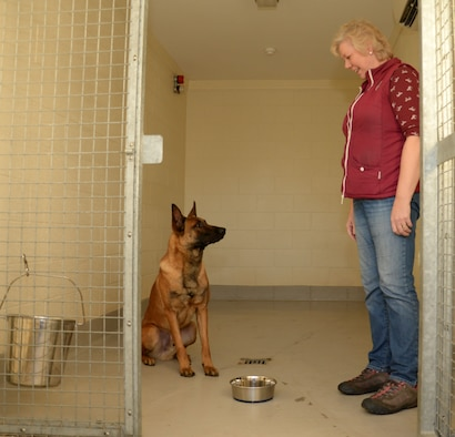 Deborah Black, 100th Security Forces Squadron kennel attendant, asks U.S. Air Force 100th SFS Military Working Dog Oorion to wait before eating his food Dec. 4, 2015, on RAF Mildenhall, England. Due to the nature of their work, the dogs need to follow everyday commands to ensure they are safe. It also helps the dogs adapt to family life when the time comes to rehome them when they retire. (U.S. Air Force photo by Gina Randall/Released)