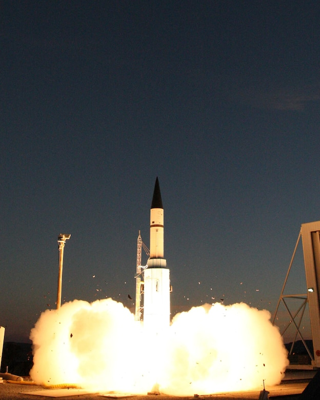 A Patriot Target Vehicle, also known as Juno, provided by the Space and Missile Systems Center at Los Angeles Air Force Base in El Segundo, California, launches from the U.S. Army's Fort Wingate near Gallup, New Mexico Dec. 10, 2015. The rocket serves as an intercept target for the U.S. Army Lower Tier Project Office Patriot missile defense system. The Juno PTV soared high into the atmosphere on its way to the White Sands Missile Range to be intercepted by a Patriot Advanced Capability Three (PAC-3) missile system. SMC's Rocket Systems Launch Program and its mission partners re-utilizes excess motors from ICBMs for U.S. government research, development, test and evaluation efforts. The Juno PTV incorporates two solid rocket motors from the LGM-30F Minuteman II weapon system which was retired in 1994. (U.S. Army photo/White Sands Missile Range Public Affairs - Visual Information)