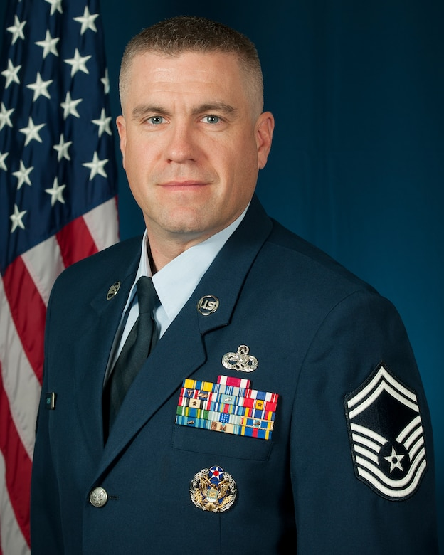 Senior Master Sgt. Mikael Sundin, Senior Enlisted Leadership Management Office superintendent, Nov 30, 2015, Air National Guard Readiness Center, Joint Base Andrews, Md. Sundin, previously a fabrication element supervisor with the 140th Wing in Colorado, joined the SELMO team in November to help ANG senior enlisted members capitalize on professional opportunities and further develop as leaders. (Air National Guard photo by Master Sgt. Marvin Preston/released)