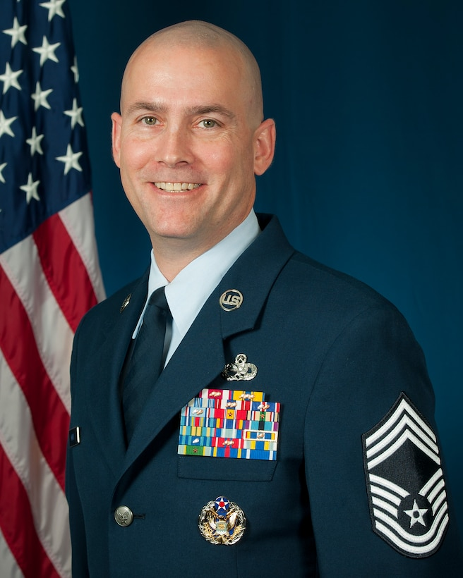 Chief Master Sgt. William Horay, Senior Enlisted Leadership Management Office manager, Nov. 30, 2015, Air National Guard Readiness Center, Joint Base Andrews, Md. Horay is the first active duty chief master sergeant assigned to the ANG command chief's office. Horay will provide functional oversight, coordinate senior enlisted leader education opportunities and process nominations to key command positions. . (Air National Guard photo by Master Sgt. Marvin Preston/released)