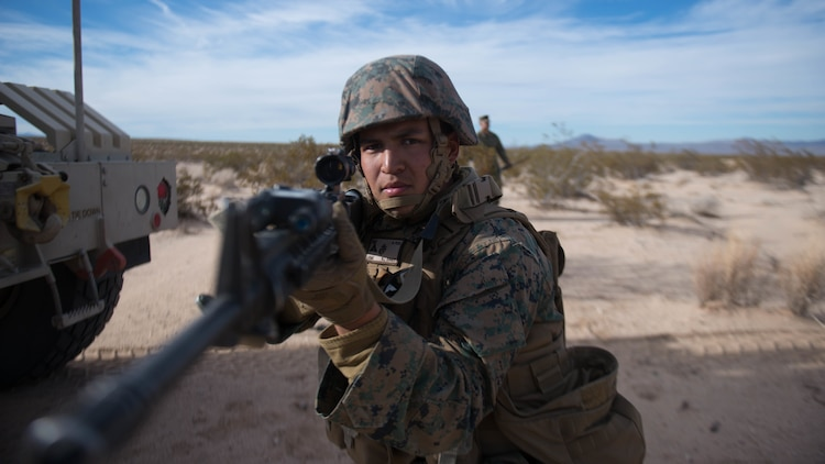 A Marine holds security during a route clearance drill as a part of Exercise Steel Knight at Marine Corps Air Ground Combat Center Twentynine Palms, California, Dec. 13, 2015. The Marine is with 1st Combat Engineer Battalion. During route clearance Marines use a variety of vehicles to search for improvised explosive devices, mines and other dangerous obstructions. Steel Knight is a 1st Marine Division led exercise, which enables the Marines and sailors to operate in a realistic environment to develop skill sets necessary to maintain a fully capable Marine Air Ground Task Force.
