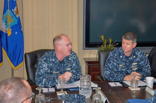 Navy Capt. Michael Krieger, the outgoing Joint Team Lead, thanks everyone for their support during his tour of duty.