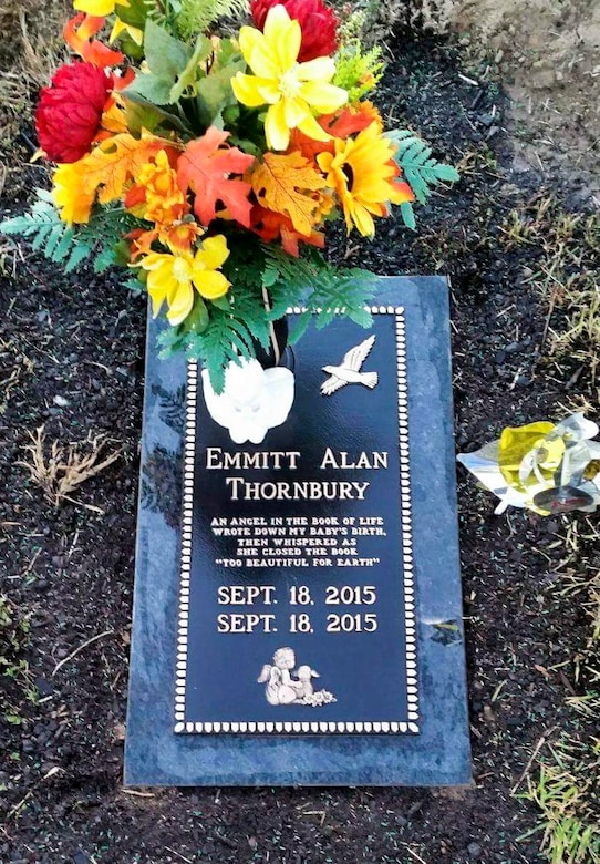 A picture of Emmitt Alan Thornbury's headstone, son of Airman 1st Class Christopher Thornbury, a 22nd Air Refueling Wing Public Affairs photojournalist, laid to rest in Lebanon, Mo. Emmitt passed away as a result of his deformities caused by his condition, Trisomy 18. (Courtesy photo)