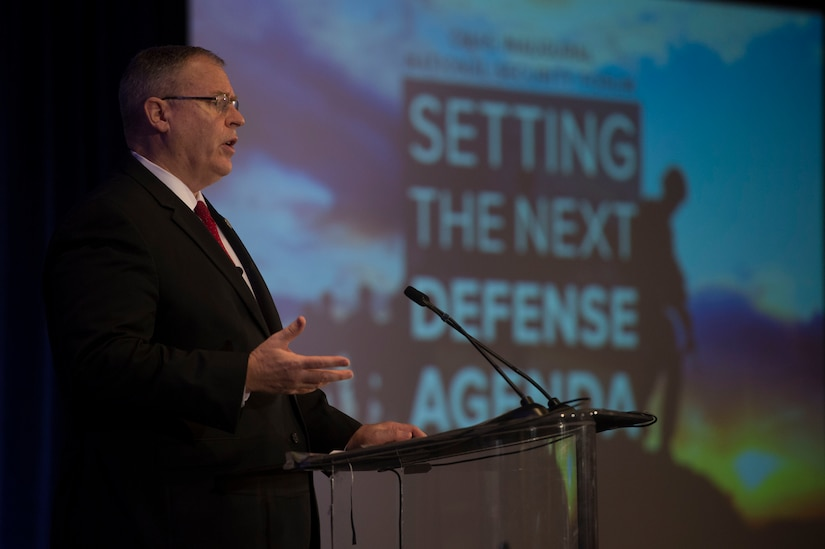 Deputy Defense Secretary Bob Work speaks at the Center for a New American Security in Washington, D.C., Dec. 14, 2015. DoD photo by Petty Officer 1st Class Tim D. Godbee